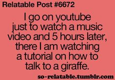 LOL!!! That would be me of all people watching a tutorial of how to talk to giraffes, or make up, or cutting hair!  Right J!