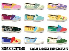 KOOAK Kustoms Disney Princess Inspired Toms Flats for Kids - Choose your Princess by KammysOneOfAKind on Etsy https://www.etsy.com/listing/157839928/kooak-kustoms-disney-princess-inspired