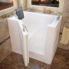 MediTub 27x39-inch Right Drain White Soaking Walk-In Bathtub (27x39 inch, Soaker Tub, White, Right)