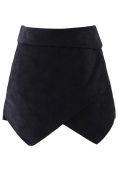 Faux Leather Asymmetric Shorts in Black
