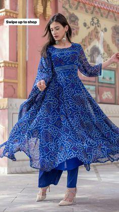 Stitched Bandhani dress TOP - masleen cotton DUPTTA - Masleen bandhani With punjabi pent(full stich) Size-L, XXL Diva Virtual Paradise, Karwar Contact us: 8660510296 Indian Fashion Dresses, Dress Indian Style, Pakistani Dresses, Indian Wear, Fashion Outfits, Indian Outfits, Teen Fashion, Salwar Designs, Kurti Designs Party Wear