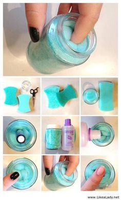 DIY Nail Polish Remover Jar. See this tutorial here