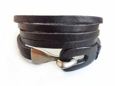 Jewelry cuff bracelet leather bracelet men leather cuff bracelet women leather wrist bracelet,black leather and alloy clasp cuff SH-2237