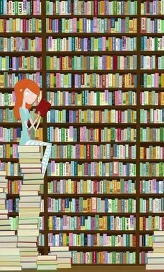 This is me at the Library. I pull out a bunch that I like and then read the summaries to decide which I will take home.