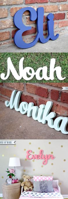 Hand-cut wood name signs from The House of Wood. Beautiful for children's bedrooms or nursery!
