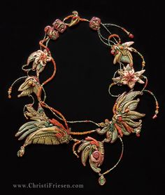 """""""Jungle"""" #artJewelry necklace #christiFriesen  #polymer with coral, #emeralds and other stones. http://www.christifriesen.com/"""