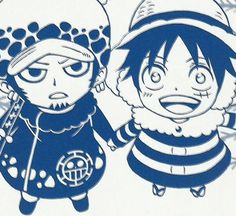 Law and Luffy. This is so damn cute! Look at Luffy's whimsical eyes!
