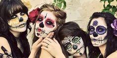 Dia de los muertos - Day of the dead makeup - Sugar skull makeup Halloween Kostüm, Holidays Halloween, Halloween Costumes, Halloween Face Makeup, Pretty Halloween, Gothic Halloween, Group Halloween, Sugar Skull Mädchen, Sugar Skull Makeup