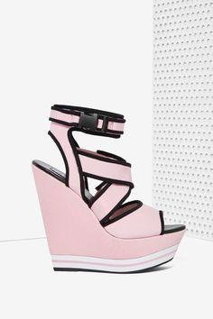 Iggy Azalea x Steve Madden Patra Neoprene Platform Wedges - Pink & Black
