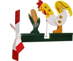 Image detail for -Classic Rooster Whirligig, Colorful Handcrafted Wooden Whirligigs ...