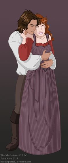 My newest Musketeer drawing!  d'Artagnan and Constance being adorable with some tickley neck snuggles. :3  http://beanutputter22.tumblr.com