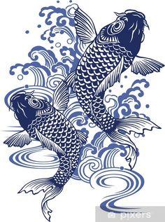 Japanese Embroidery Fish Art Print: Japanese Carp by daicokusann : - size: Art Print: Japanese Carp by daicokusann : Japanese Drawings, Japanese Koi, Fish Drawings, Japanese Prints, Japanese Tattoos, Japanese Sleeve, Japanese Waves, Koi Art, Fish Art