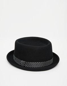 ASOS Pork Pie Hat with Printed Tape - Black