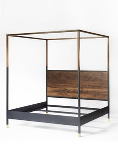 The Hampson bed is a four-poster masculine canopy bed that features a solid American walnut headboard, juxtaposed with a hand-rubbed blackened steel frame. Modern Canopy Bed, Metal Canopy Bed, Steel Canopy, Wooden Canopy, Steel Bed, Cute Bedroom Ideas, Cute Room Decor, Home Bedroom, Bedroom Decor