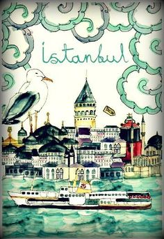 One of my favorite illustrations of Istanbul Places To Travel, Places To Go, Turkey Destinations, Capadocia, Istanbul Turkey, Istanbul Map, Istanbul Travel, Vintage Travel Posters, Illustrations Posters