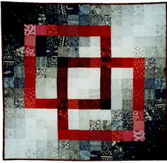 """Striking Black and White Quilt   BLK-WHT-RED INTERLOCK WALLHANGING approx 30"""" Square Machine Quilted"""
