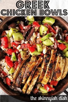 One of the most flavorful meal prep recipes around are these easy and healthy Greek Chicken Bowls. Delicious warm chicken dressed with the greek tastes we all love; olives cucumbers olive oil feta and more. Youll love this fresh and delicious meal! Greek Cucumber Salad, Mediterranean Diet Recipes, Mediterranean Dishes, Clean Eating Snacks, Eating Raw, Natural, Cooking Recipes, Vegan Recipes, Crockpot Recipes