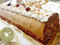 Recette buche vanille caramel beurre salé Biscuit joconde croustillant praliné insert crémeux au caramel mousse bavaroise vanille mascarpone glaçage caramel