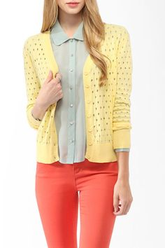 Shop for Perforated Knit Cardigan by Forever 21 at ShopStyle. Cotton Cardigan, Knit Cardigan, Cardigan Sweaters, Fashion Moda, Womens Fashion, Forever 21 Cardigans, Fashion Looks, Summer Cardigan, Summer Essentials
