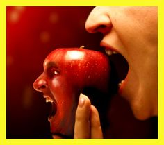 darkface: Original Sin by *RyanHartsell Colors Of Fire, Food And Thought, Bad Apple, Photoshop Me, Weird Art, Print Magazine, Photomontage, Shades Of Red, Photo Manipulation