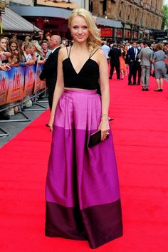 The ombre striping on this dress makes Emily Berrington so chic.