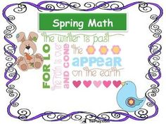 Spring Math involves Measurement and Data, Operations and Algebraic Thinking skills. Spring Math Lessons such as I Spy Spring, Create a Spring Scene and Shades of Spring allow learners to use their imaginations. This math lesson worksheet packet includes 22 pages, 8 lessons, 2 assessments and keys.
