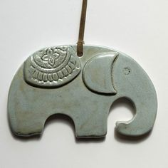 Home Decor handmade elephant shape wall décor, gray-torques color ornament for good luck, Lucy charm, housewarming gift new home, clay Clay Ornaments, Hanging Ornaments, Ceramic Jewelry, Ceramic Clay, Polymer Clay Projects, Clay Crafts, Raffle Baskets, Gift Baskets, New Home Gifts