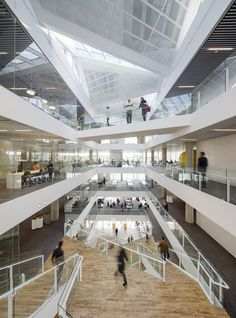Completed in 2013 in Haderslev, Denmark. Images by Adam Moerk. The new education centre for VUC Syd in Haderslev, Denmark, has no traditional classrooms. Space Architecture, Architecture Details, Shopping Mall Interior, Shopping Malls, Atrium Design, Roofing Options, Mall Design, Library Design, Office Interiors