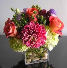 mixed flower arrangement with rocks