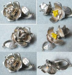 Vintage sterling silver NUVO rose charm opens to an enameled bee
