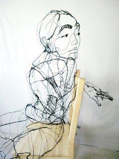 David Oliveira: Imoto (ItteQ world), 2012, 74cmX145cmX140cm, burn wire and Ikea wood chair
