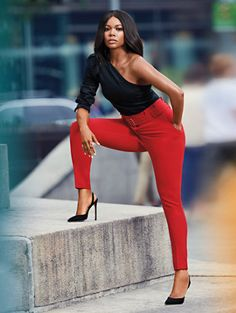 A one-shoulder silhouette makes a dramatic style statement on our deconstructed shirt, finished with a flattering self-tie belt. Shop Gabrielle Union for Avenue exclusively at New York and Company. Classy Outfits, Chic Outfits, Fashion Outfits, Outfit Elegantes, Gabrielle Union, Professional Attire, One Shoulder Tops, Black Girl Fashion, Black Girl Style