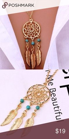 "💫Beautiful Antique Dream Catcher 💫 Make a statement w/ this Dainty dream catcher .. easy to mix for everyday wear because it is a dainty piece ...  material:Alloy Color: Antique Gold/Turquoise   Measurements: 18"" chain w/ 2"" extender  Pendent Drop: 2.75"" Jewelry Necklaces"