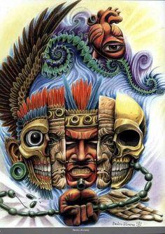 Dioses de antes Graffiti Art, Aztec Drawing, Mayan Tattoos, Aztec Tattoo Designs, Arte Sci Fi, Aztec Culture, Aztec Warrior, Inka, Mexico Art