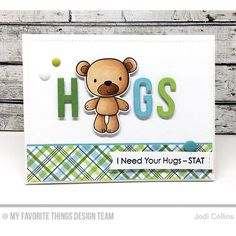 card critters bear MFT Friends Furever Stamp Set and Die-namics Furever Friends and Lots of Hugs for my card! blueprints #cardmaking #mftstamps