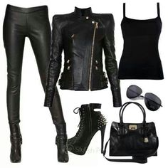 Biker chick outfit, add horns, creepy eye makeup and haunting fingers and we hav. Biker chick outfit, add horns, creepy eye makeup and haunting fingers and we have a Halloween costume Pastel Outfit, Emo Outfits, Casual Outfits, Fashion Outfits, Biker Outfits, Girl Outfits, Fashion Boots, Biker Fashion, Batman Outfits