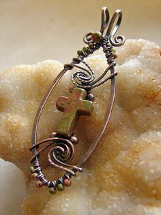 Unakite Cross Copper Wire Wrapped Pendant