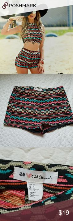 H&M coachella high waisted shorts tribal Aztec 4 *H&M coachella high waisted shorts. Has a colorful tribal pattern. Stock photos to show fit. H&M has off sizing. It says size 10, but these fit me perfect and I'm a size 4. Tape measure pics included.* H&M Shorts