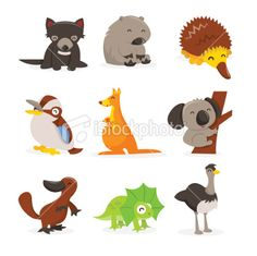 Cute Cartoon Australian Animals Icon Set Royalty Free Stock Vector Art Illustration