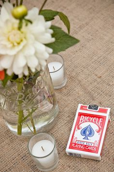 Guests will have fun socializing with a deck of cards at the table! Maybe cocktail hour? Wedding Reception Games, Wedding Favours, Reception Ideas, Summer Wedding, Our Wedding, Dream Wedding, Wedding Dreams, Wedding Stuff, Wedding Flowers