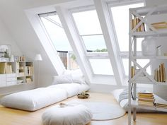 SLICE OF HEAVEN: Turn an unused attic or above-garage room into an extraordinary living space that brings the outdoors in with the VELUX CABRIO® Balcony Roof Window. The top opens for ventilation and the bottom opens outward to create a roof balcony. Attic Rooms, Attic Spaces, Attic Playroom, Attic Bathroom, Bed Rooms, Bathroom Grey, Sweet Home, Roof Window, Window Bed