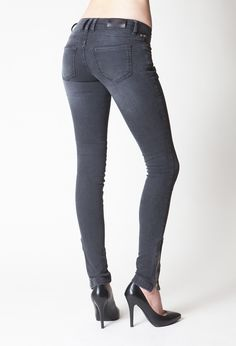 Skinny Jeans Double Zipper-Charcoal