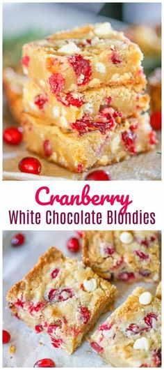 WMF Cutlery And Cookware - One Of The Most Trustworthy Cookware Producers Holiday Cranberry White Chocolate Blondies - Ring In The Holidays With These Soft, Chewy Ultimate Blondies Stuffed With Fresh Cranberries And White Chocolate. It's A Lovely Decadent Chocolate Marshmallow Cookies, White Chocolate Blondies, Chocolate Chip Shortbread Cookies, Toffee Cookies, Yummy Cookies, Christmas Desserts, Fun Desserts, Delicious Desserts, Dessert Recipes