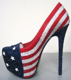 American flag Rhinestone Heels