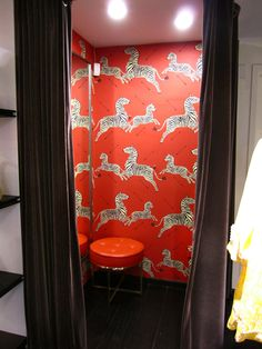 My dream wallpaper for our 1/2 bath. Of COURSE it's in the Kate Spade dressing room in NY!
