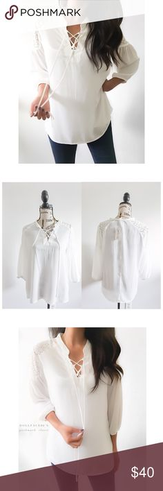 """NWT Romantic white billowy Blouse This romantic white blouse has a drawstring lace up neckline with billowy sleeves that have eyelet lace detailing along the shoulders. {actual color of item may vary slightly from pics}  *chest:21.5"""" *waist:22"""" *length:26"""" *sleeves:23"""" *material/care:100%polyester/machine washable *fit:tag says leisure, but might work for ref large as well or med/lrg  *condition:new w/tag no damage   🌸20% off bundles of 3/more items 🌸No Trades  🌸NO HOLDS 🌸No transactions…"""