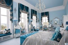 BEDROOM: Blue and white...So victorian...so luxurious