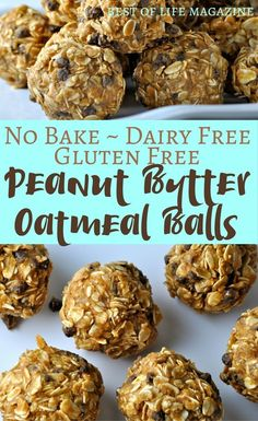 This no bake peanut butter oatmeal balls recipe is gluten free and dairy free ma. This no bake peanut butter oatmeal balls recipe is gluten free and dairy free making it the perfect healthy snack for an active lifestyle. Dairy Free Bread, Dairy Free Snacks, Dairy Free Breakfasts, Dairy Free Diet, Gluten Free Desserts, Healthy Gluten Free Snacks, Gluten Free Lunch Ideas, Dairy Free Recipes For Kids, Dairy Free Appetizers