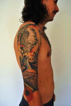 """Star Wars """"Final Battle of Endor"""" sleeve by Jim Warf at Rouge Elephant Tattoo"""