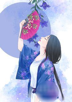 Japanese Prints, Japanese Art, Chinese Drawings, Art Asiatique, Beautiful Fantasy Art, Korean Art, China Art, Digital Art Girl, Fantasy Women
